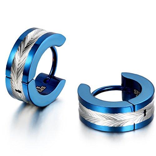 Jewelrywe Gioielli Orecchini da Uomo Donna, Alta Lucidato,Orecchini a Cerchio, Acciaio Inossidabile, Colore Blu/Oro/Nero (con Borsa Regalo)