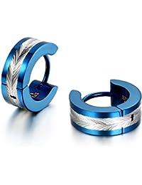 Jewelrywe Pendientes Hombres Donna, Alto Pulido, pendientes de aro, de acero inoxidable, plata azul (con bolsa de regalo)