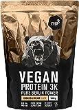 nu3 - Protéines Vegan 3K | 1kg | Poudre Cookies & Cream | 69% de protéines à base de 3 composants végétaux | Protéines destinées à la prise de masse musculaire avec une délicieuse saveur cookies