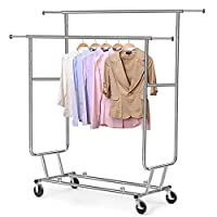 Yaheetech Garment Rack Coat Clothes Hanging Rail Shoe Stand with Wheels