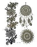 STRASS & PAILLETTES - Tatouages éphémères Grand Attrape rêve Noir et Blanc. Tattoo Rosace. Fleur. Plume. Tatoo temporaire N&B - Bijou de Peau