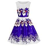 SEWORLD Damen Weihnachten Kleid, 2018 Damen Vintage Santa Weihnachten 1950er Jahre Retro Xmas Abend Prom Swing Kleid(X7-1-violett,EU-36/L)