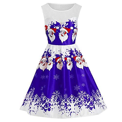 MRULIC Damen Weihnachts ärmellose Spitze Patchwork Print Vintage Party Kleid Casual Abendkleid Ballkleider WollröCke Knielang Rot Kurz Weite Faltenrock (Violett,EU-36/CN-M)