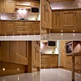 Set of 10, 15mm Warm White LED Decking / Deck / Plinth Lights (high quality stainless steel lights - ideal for kitchen plinths, patio lighting, stairs, etc)