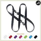 Pets&Partner® Hundeleine aus Nylon/Doppelleine in verschiedenen Farben für mittelgroße und große Hunde farblich passend zu Halsband und Geschirr, Schwarz mit schwarzen Karabinern