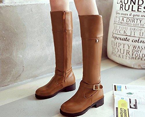 Mee Shoes Damen runde Reißverschluss langschaft chunky heels Stiefel Gelb