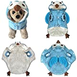 Upxiang Coole Niedlichen Hundekleidung, Hund Winter Dicken Kostüm Kleidung, Haustier Cosplay, Hundekleidung Hundemantel Hundejacke Hundepullover, für kleine Hund Und große Hund (S, Eule-Blau)