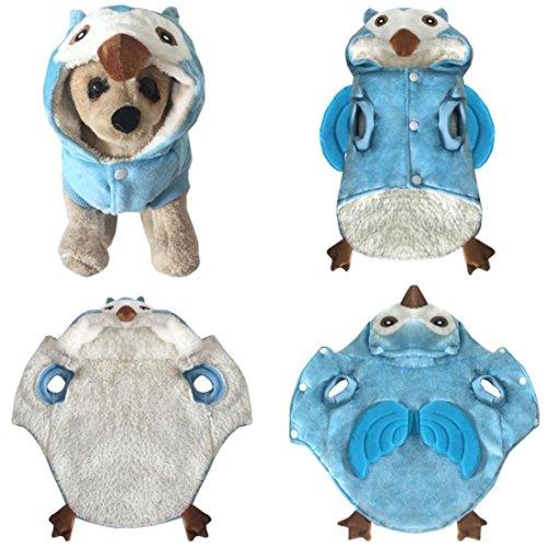 Schnee Kostüm Eule - Upxiang Coole Niedlichen Hundekleidung, Hund Winter Dicken Kostüm Kleidung, Haustier Cosplay, Hundekleidung Hundemantel Hundejacke Hundepullover, für kleine Hund Und große Hund (S, Eule-Blau)