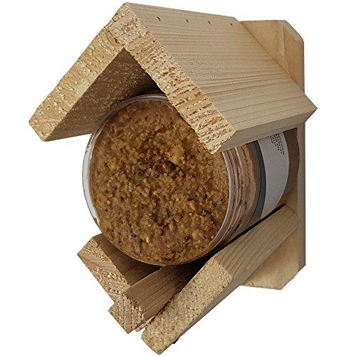 proheim Vogelfutterhaus mit Erdnussbutter-Glas Vogelhäuschen 13 x 8 x 12 cm Vogelhaus aus FSC Holz