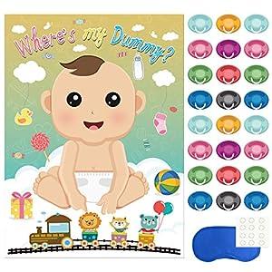 Babyparty Baby Shower Komplettset 16 St/ück Spiel-Set S junge blau Partyspiel Quiz Spiel Einladungskarten Deko Party Andenken Einladung Karte Geschenk Partyset Artikel