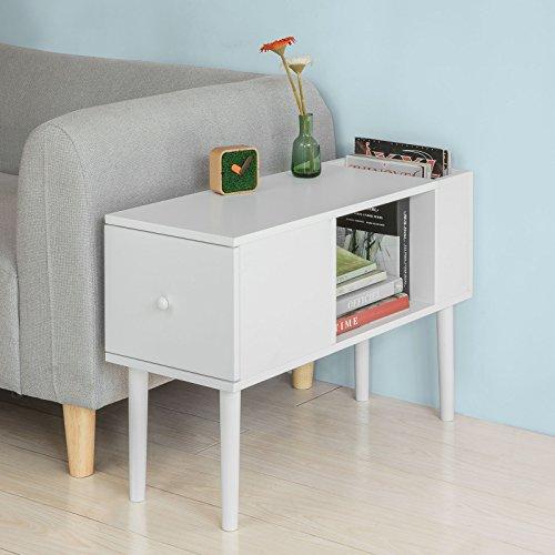 Sobuy® tavolino da divano,mobiletti da soggiorno o letto,con cassetto,bianco,fbt60-w,it