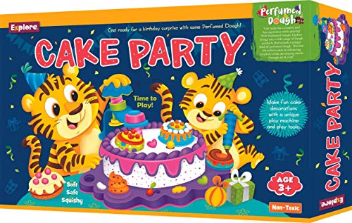Explore | Perfumed Dough | Cake Party (Fun & Creative Learning Activity Toy Set for Role-Play with _ Colours of Non-Toxic Perfumed Dough for Ages 3+ of Boys and Girls)