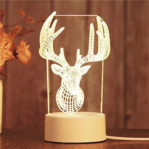 Nachtlicht LED des kreativen Geschenks 3D XIEPEI führte dekorative Tischlampe Neues merkwürdiges Geburtstagsgeschenk-Nachtlicht Hirschkopf 4W