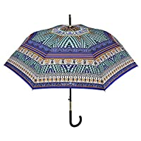 Classic Lady Umbrella Maison Perletti - Automatic Opening - Elegant and Chic Brolly with Rhinestone on The Handle - High Quality - Light Blue Design Mosaic Effect