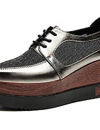ZQ hug Zapatos de mujer-Tacón Cuña-Tacones / Plataforma-Tacones-Vestido-Semicuero-Negro / Rojo , black-us8.5 / eu39 / uk6.5 / cn40 , black-us8.5 / eu39 / uk6.5 / cn40