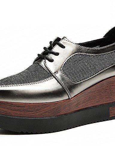ZQ hug Scarpe Donna-Sneakers alla moda-Formale / Casual / Sportivo / Serata e festa-Zeppe / Creepers-Zeppa-Tulle-Nero / Argento , silver-us8.5 / eu39 / uk6.5 / cn40 , silver-us8.5 / eu39 / uk6.5 / cn4 silver-us8 / eu39 / uk6 / cn39