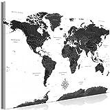 decomonkey Bilder Weltkarte 120x80 cm 1 Teilig Leinwandbilder Bild auf Leinwand Vlies Wandbild Kunstdruck Wanddeko Wand Wohnzimmer Wanddekoration Deko Landkarte Kontinente schwarz weiß