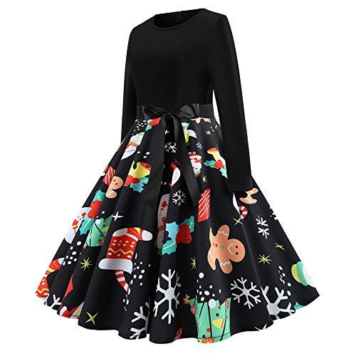 Damen Elegant Vintage Cocktailkleid Partykleid,Oliviavan Xmas Langarm Rockabilly Kleid Faltenrock Floraler Rock Blumenmuster Baumwolle Kleider