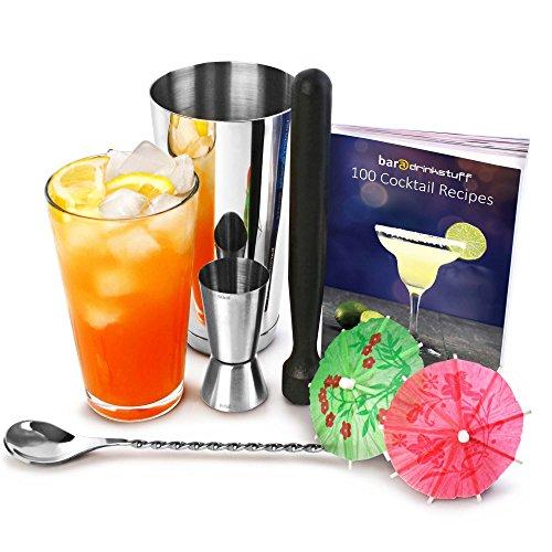 bar@drinkstuff - Set da cocktail professionale, include un libro di ricette [lingua italiana non garantita], shaker Boston, pestello da cocktail, misurino, cucchiaio miscelatore e 24 ombrellini decorativi di carta