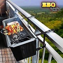 Appetitissime Bbq Quick Barbacoa de Carbón para Balcón, Acero Inoxidable, Negro, 57 cm