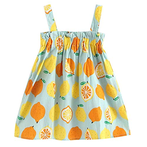 Schönes Kinderkleid,SUNFANY Kleinkind Baby MäDchen Zitrone Print äRmellose Gurt Prinzessin Kleider Outfits(Blau,3-4 Years) (Schöne Verkauf Kleider Für)