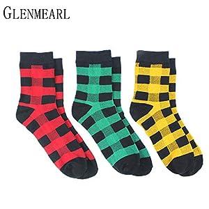LILIKI@ 5 Paare/Los Baumwolle Frauen Socken Marke Plaid Frühling Herbst Mode Nette Rote Grüne Kompression Knöchel Weibliche Socken Strumpfwaren