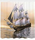 Abakuhaus Duschvorhang, Altes Hartholz Segelschiff mit Hellem Klarem Hintergrund Meer Segelwerk Nautischer Druck, Blickdicht aus Stoff inkl. 12 Ringe für Das Badezimmer Waschbar, 175 X 200 cm