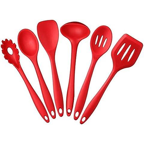 Swify Silicone Utensili da Cucina, 6 Pezzi: Noodle cucchiaio, Cucchiaio
