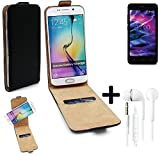 TOP SET: 360 Flipstyle Schutz Hülle Smartphone Tasche für Medion Life E4504, schwarz + Kopfhörer Case Flip cover - K-S-Trade  Universal Etui Geldbörse Portmonee Portemonnaie Flip Cover Wallet case Ohrstöpsel In ear headphones Headset