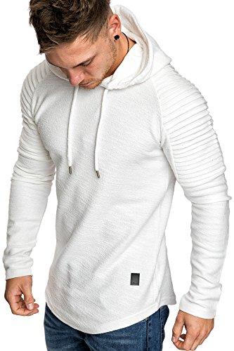 Amaci&Sons Oversize Vintage Herren Pullover Biker-Style Kapuzenpullover Hoodie Sweatshirt 4022 Weiß M