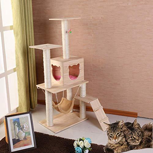 Ludage Katzenkletterrahmen Massivem Holz Katze Wurf Katze Klettern Katzenspielzeug Haustier-Zubehör Katze Klettern Regal Solide Holz Katze Nest 60 * 40 * 135 cm -