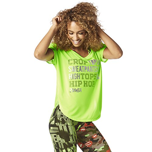 Zumba Fitness Damen High Tops and Hip Hop Tulip Top Frauentop, Get in Lime, M