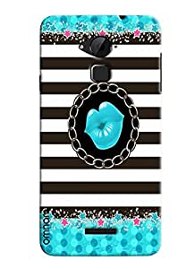 Omnam Blue Lips Printed With Black And White Pattern Combination Designer Back Cover Case For Coolpad Note 3