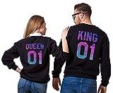 Pärchen Pullover King Queen Set Partner Look Sweatshirt Pulli Paare Liebespaar Couple Hoodie Schwarz Weiß Damen Baumwolle Herbst Top Geschenk 2 Stücke (Schwarz-Herr-XL+Dame-S)