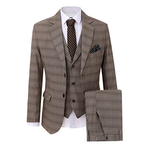 Solovedress Herren Business Anzug 3 Stück Smoking Casual Männer Anzug Mode Blazer mit Jacke (Bildfarbe,34)