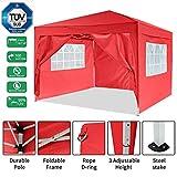 Bunao Gazebo/Tonnelle de Jardin Tente de réception 3x3m pavillon imperméable Tente Pliante de Jardin (Rouge)