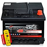 BlackMax+30% - 12 V / 55 Ah - 510 A/EN Autobatterie KFZ PKW Batterie inkl. Polfett