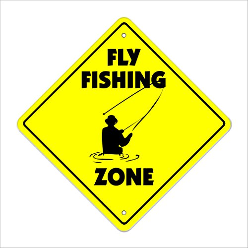 SignMission Fliegen Angeln Crossing Sign Zone Xing |-| 50,8 cm Hoch Flyfishing Habit, Binden Rute
