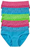 5er-Pack Damenslips Unterhosen Hüftslip mit elegant verziertem Spitzenbündchen Hüftpanty (44/46)