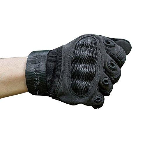 FREE SOLDIER Outdoor Männer Vollfinger Handschuhe Radfahren Klettern Trainingshandschuhe Reiten Motorrad Handschuhe(L, Schwarz)