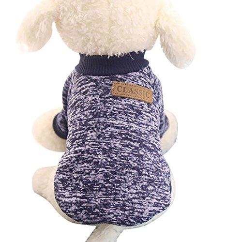 KanLin Haustier Hund Kleidung Soft Verdickung Warm Streifen Polar Fleece Winter Kleider (M, Navy) (Navy Anzug Tragen)
