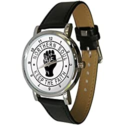 Northern Soul Fist Design Wristwatch. Keep The Faith Design. an ideal Unusual Gift. Genuine Leather Strap