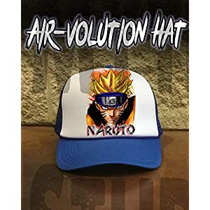 Mythic Airbrush Personalisierte Airbrush Naruto Uzumaki Snapback Trucker-Mütze Eine Grösse passt allen Schwarzer Hut