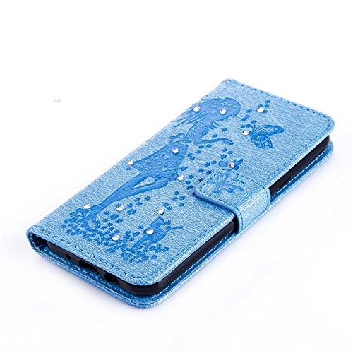 Für Samsung Galaxy J3 Prime Case, geprägtes Girl Pattern Rhinestone PU Leder Brieftasche Case Cover Flip Stand Case mit Halter & Lanyard & Card Slots ( Color : Darkblue ) Blue
