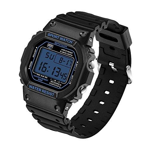 SANDA Herren Damen Elektronische Sportuhr Wasserdicht Multifunktion Uhren Timing-Funktion/Datum und Wochentag/Timer-Alarmfunktion/Lichtfunktion Armbanduhr(Blau,Herren)