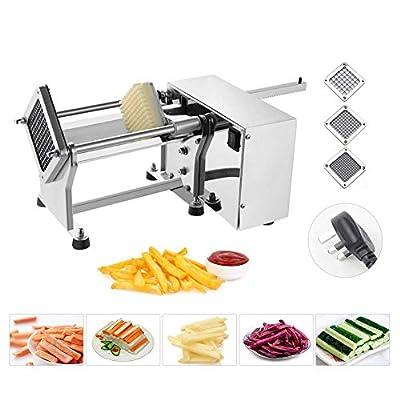 TRUSTME Coupe Frites Machine Machine de Coupe de Frites en Acier Inoxydable Pomme de Terre Trancheuse Cuisine Professionnel Électrique avec 3 Lames de 6mm / 9mm / 13mm