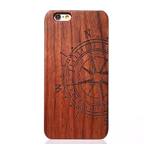 G-i-Mall iphone 6 6S Plus Custodia - Ultra Slim Custodia Protettiva Natura Legno Wood back Cover Hard PC Bumper Case Per Apple iPhone 6 6S Plus 5.5 Pollici Smartphone (Dente di leone) Bussola