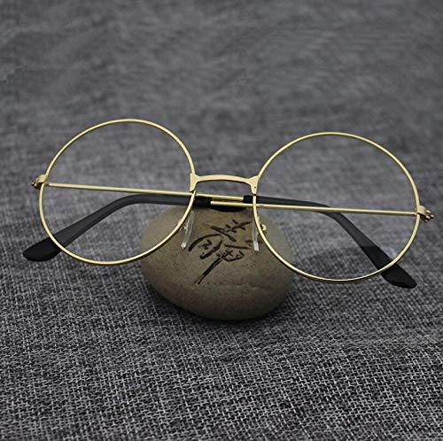 SUNNYTYJ Sonnenbrillen Unisex Vintage Runde Lesebrille Metallrahmen Retro Persönlichkeit College Style Brillen Klare Linse Brillen Frames
