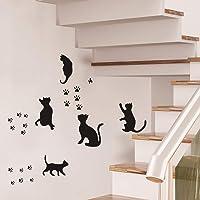 Lot de 5 stickers muraux amovibles en vinyle avec empreintes de chats - Pour porte, maison, chambre à coucher, salon…