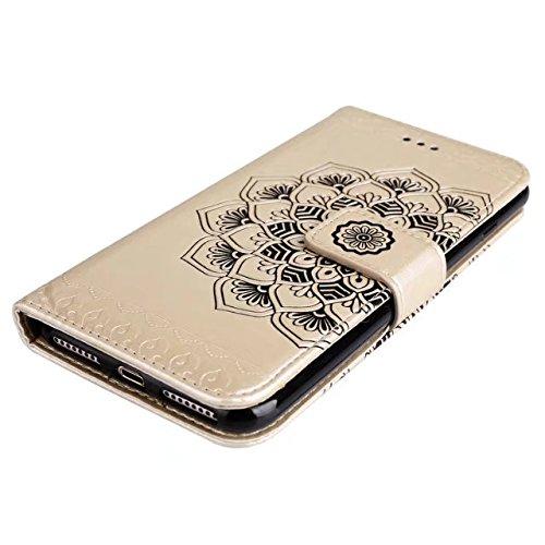 Hülle für iPhone 7 plus , Schutzhülle Für IPhone 7 Plus geprägte elegante runde Blumenmuster Faux Leder Tasche Geldbörse mit Lanyard Strap & Halter & Kickstand & Card Cash Slots ,hülle für iPhone 7 pl Gold